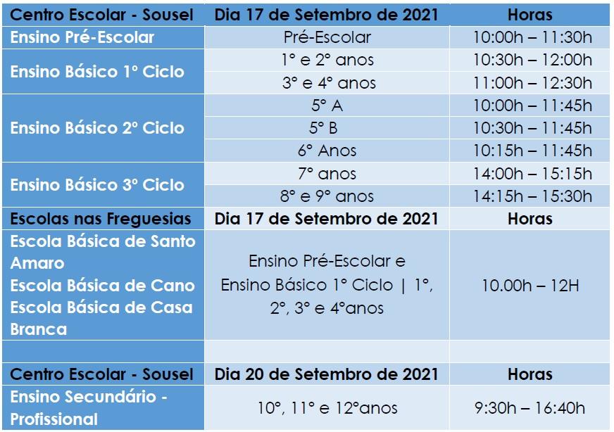 Calendário de Abertura Ano Letivo 2021-2022